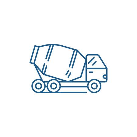 Illustration pour Concrete truck line concept icon. Concrete truck flat  vector website sign, outline symbol, illustration. - image libre de droit