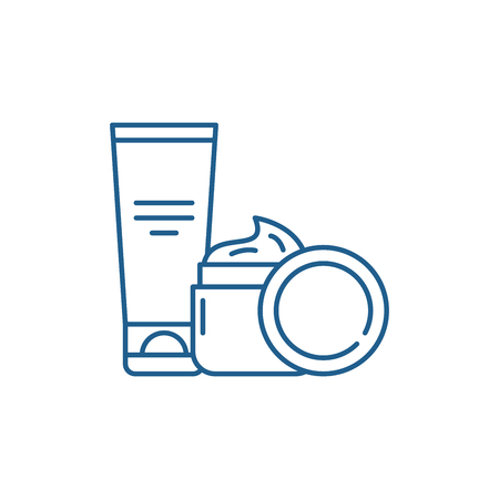 Illustration for Cosmetic creams line concept icon. Cosmetic creams flat  vector website sign, outline symbol, illustration. - Royalty Free Image