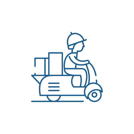 Illustrazione per Courier on a motor scooter line concept icon. Courier on a motor scooter flat  vector website sign, outline symbol, illustration. - Immagini Royalty Free