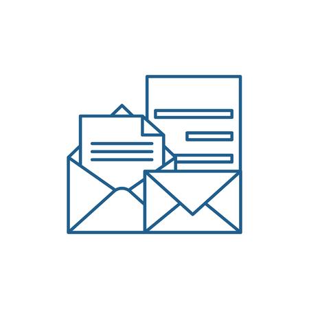 Illustration for Direct marketing line concept icon. Direct marketing flat  vector website sign, outline symbol, illustration. - Royalty Free Image