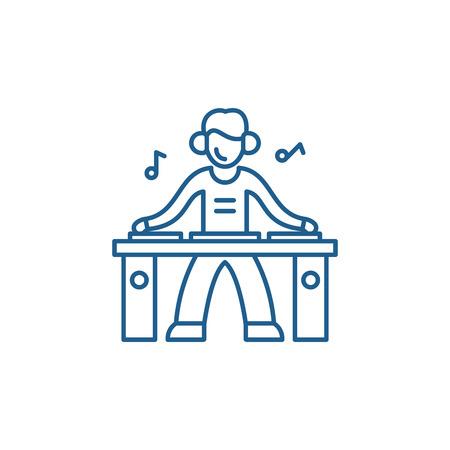 Illustration pour Dj line concept icon. Dj flat  vector website sign, outline symbol, illustration. - image libre de droit