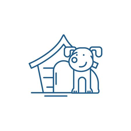 Illustration pour Domestic dog line concept icon. Domestic dog flat  vector website sign, outline symbol, illustration. - image libre de droit