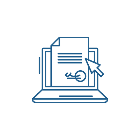 Illustration for Electronic signature of the contract line concept icon. Electronic signature of the contract flat  vector website sign, outline symbol, illustration. - Royalty Free Image