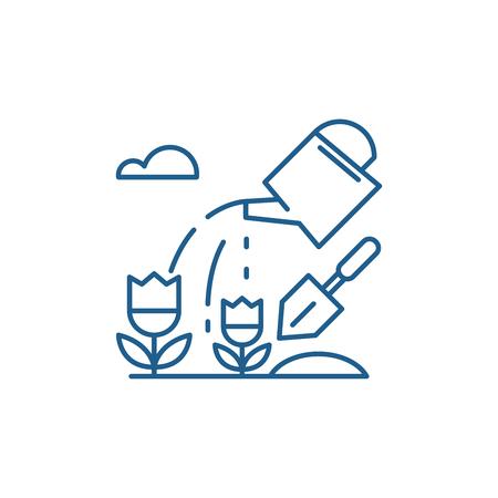 Illustration for Farmland line concept icon. Farmland flat  vector website sign, outline symbol, illustration. - Royalty Free Image