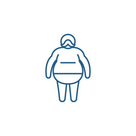 Ilustración de Fat man line concept icon. Fat man flat  vector website sign, outline symbol, illustration. - Imagen libre de derechos