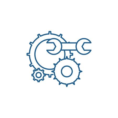 Illustration pour Engineering support line concept icon. Engineering support flat  vector website sign, outline symbol, illustration. - image libre de droit