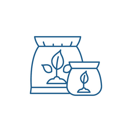 Illustration for Fertilizer line concept icon. Fertilizer flat  vector website sign, outline symbol, illustration. - Royalty Free Image