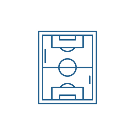 Illustration for Football field line concept icon. Football field flat  vector website sign, outline symbol, illustration. - Royalty Free Image