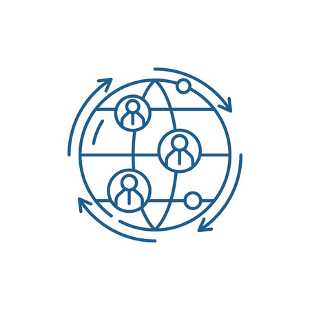 Illustration pour Global business connections line concept icon. Global business connections flat  vector website sign, outline symbol, illustration. - image libre de droit