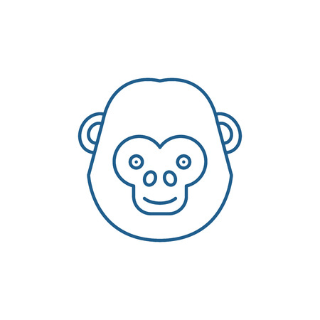 Illustration for Funny chimpanzee line concept icon. Funny chimpanzee flat  vector website sign, outline symbol, illustration. - Royalty Free Image