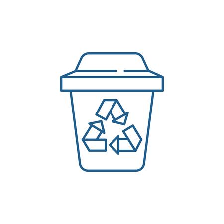 Ilustración de Garbage sorting line concept icon. Garbage sorting flat  vector website sign, outline symbol, illustration. - Imagen libre de derechos