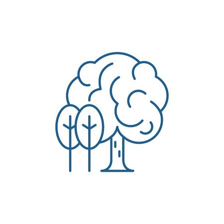 Illustration for Grove line concept icon. Grove flat  vector website sign, outline symbol, illustration. - Royalty Free Image