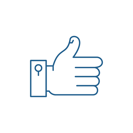 Illustration pour Hand with thumb up line concept icon. Hand with thumb up flat  vector website sign, outline symbol, illustration. - image libre de droit