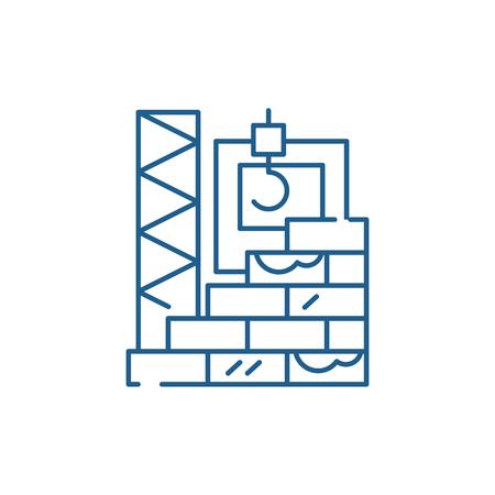 Illustration pour High rise construction line concept icon. High rise construction flat  vector website sign, outline symbol, illustration. - image libre de droit