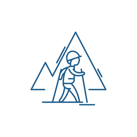 Ilustración de Hiking sign line concept icon. Hiking sign flat  vector website sign, outline symbol, illustration. - Imagen libre de derechos