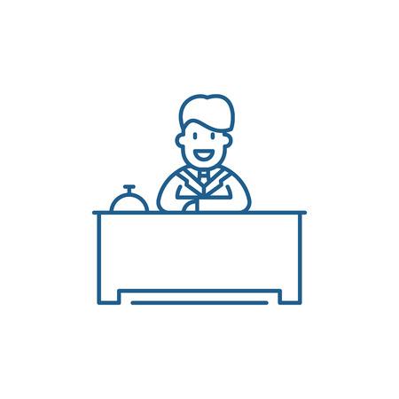 Ilustración de Hotel reception line concept icon. Hotel reception flat  vector website sign, outline symbol, illustration. - Imagen libre de derechos