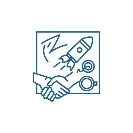 Illustration pour Innovative solutions line concept icon. Innovative solutions flat  vector website sign, outline symbol, illustration. - image libre de droit