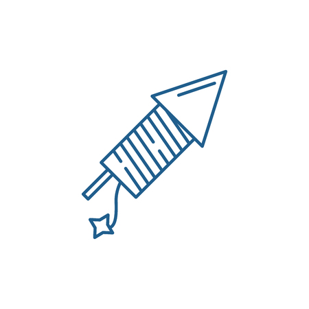 Illustration for Launching fireworks line concept icon. Launching fireworks flat  vector website sign, outline symbol, illustration. - Royalty Free Image