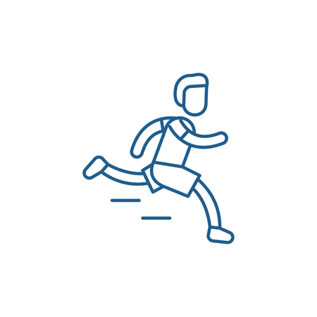Ilustración de Marathon line concept icon. Marathon flat  vector website sign, outline symbol, illustration. - Imagen libre de derechos