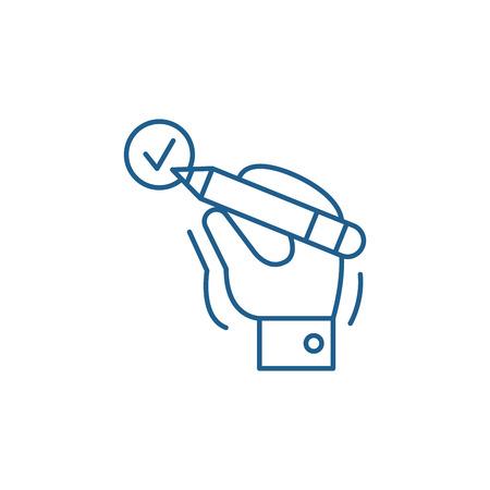 Illustration pour Mark done line concept icon. Mark done flat  vector website sign, outline symbol, illustration. - image libre de droit