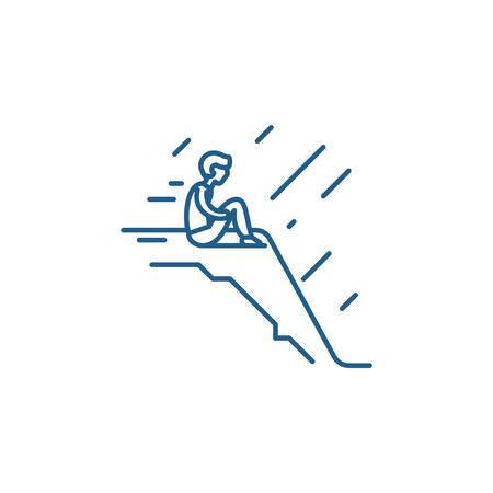 Illustration pour Loneliness line concept icon. Loneliness flat  vector website sign, outline symbol, illustration. - image libre de droit