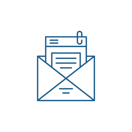 Illustration pour Mailing list line concept icon. Mailing list flat  vector website sign, outline symbol, illustration. - image libre de droit