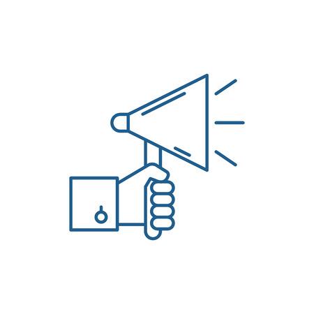 Ilustración de Mass advertising line concept icon. Mass advertising flat  vector website sign, outline symbol, illustration. - Imagen libre de derechos