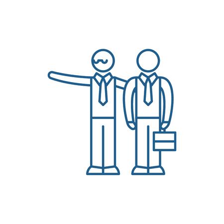 Illustration pour Mentoring line concept icon. Mentoring flat  vector website sign, outline symbol, illustration. - image libre de droit