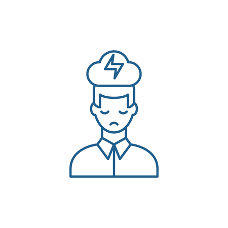 Illustration pour Nervous breakdown line concept icon. Nervous breakdown flat  vector website sign, outline symbol, illustration. - image libre de droit