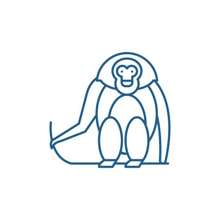Illustration for Monkey line concept icon. Monkey flat  vector website sign, outline symbol, illustration. - Royalty Free Image