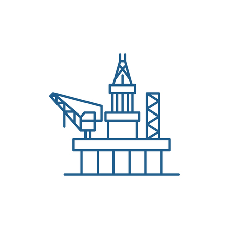 Ilustración de Oil platforms line concept icon. Oil platforms flat  vector website sign, outline symbol, illustration. - Imagen libre de derechos