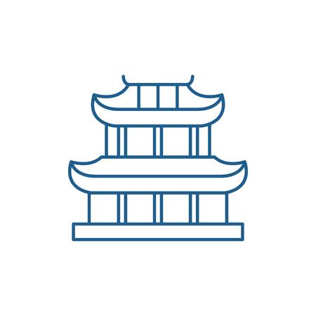Ilustración de Pagoda line concept icon. Pagoda flat  vector website sign, outline symbol, illustration. - Imagen libre de derechos