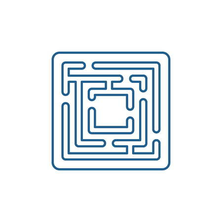 Illustration for Path in the maze line concept icon. Path in the maze flat  vector website sign, outline symbol, illustration. - Royalty Free Image