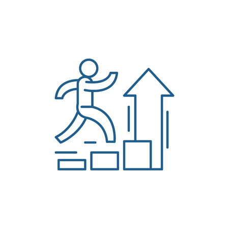 Ilustración de Personal improvement line concept icon. Personal improvement flat  vector website sign, outline symbol, illustration. - Imagen libre de derechos