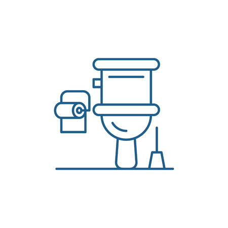 Ilustración de Restroom line concept icon. Restroom flat  vector website sign, outline symbol, illustration. - Imagen libre de derechos