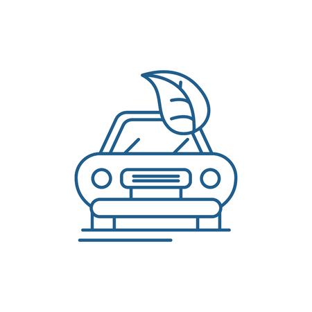 Illustration pour Retro car line concept icon. Retro car flat  vector website sign, outline symbol, illustration. - image libre de droit