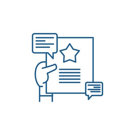 Illustration pour Recommendations line concept icon. Recommendations flat  vector website sign, outline symbol, illustration. - image libre de droit