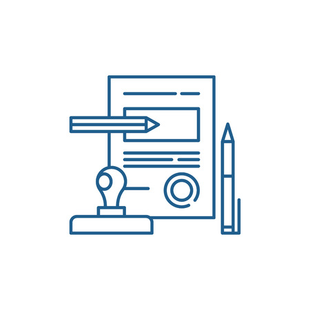 Ilustración de Signing a contract line concept icon. Signing a contract flat  vector website sign, outline symbol, illustration. - Imagen libre de derechos