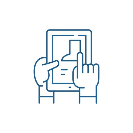 Illustration pour Selection of goods in the online store line concept icon. Selection of goods in the online store flat  vector website sign, outline symbol, illustration. - image libre de droit