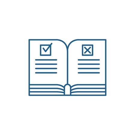 Ilustración de Rules line concept icon. Rules flat  vector website sign, outline symbol, illustration. - Imagen libre de derechos