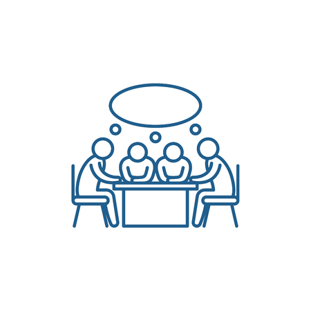 Illustrazione per Small business meeting line concept icon. Small business meeting flat  vector website sign, outline symbol, illustration. - Immagini Royalty Free