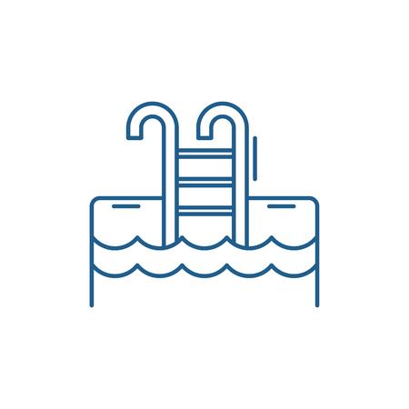 Ilustración de Sports pool line concept icon. Sports pool flat  vector website sign, outline symbol, illustration. - Imagen libre de derechos