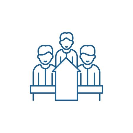Illustration pour Staff motivation line concept icon. Staff motivation flat  vector website sign, outline symbol, illustration. - image libre de droit