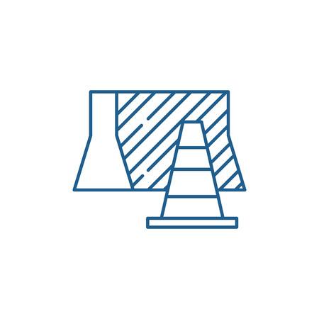 Ilustración de Suburban signs line concept icon. Suburban signs flat  vector website sign, outline symbol, illustration. - Imagen libre de derechos