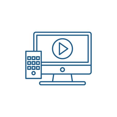 Ilustración de Temporary reserves line concept icon. Temporary reserves flat  vector website sign, outline symbol, illustration. - Imagen libre de derechos