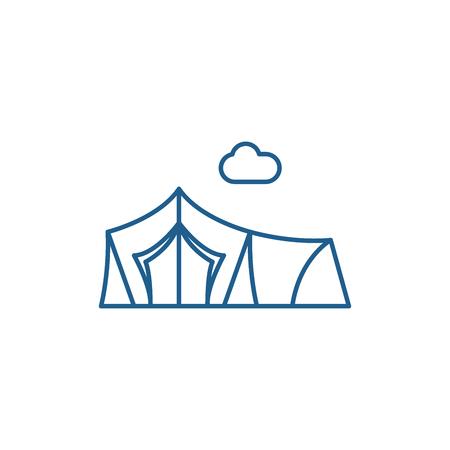 Ilustración de Tent line concept icon. Tent flat  vector website sign, outline symbol, illustration. - Imagen libre de derechos