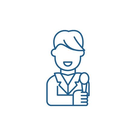 Illustration pour Tv host line concept icon. Tv host flat  vector website sign, outline symbol, illustration. - image libre de droit