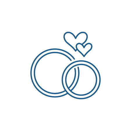 Photo pour Wedding rings line concept icon. Wedding rings flat  vector website sign, outline symbol, illustration. - image libre de droit
