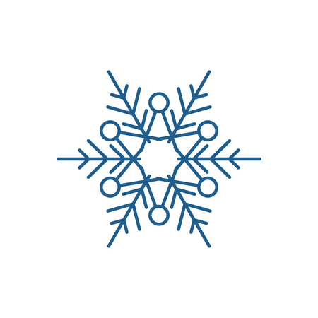 Illustration for Winter snowflake line concept icon. Winter snowflake flat  vector website sign, outline symbol, illustration. - Royalty Free Image