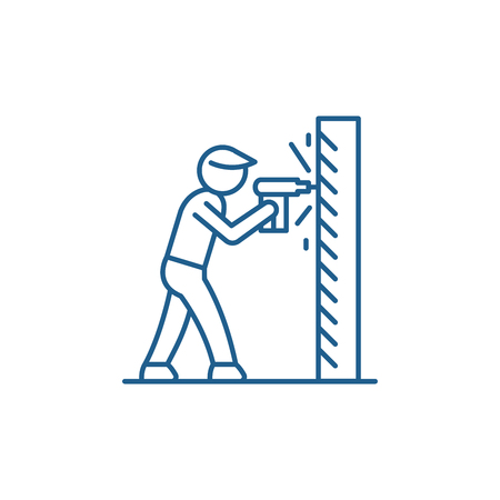 Illustration pour Work as a drill line concept icon. Work as a drill flat  vector website sign, outline symbol, illustration. - image libre de droit